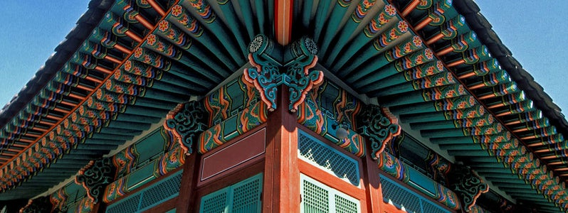 Painted Eaves at Changdeok Palace by LASZLO ILYES