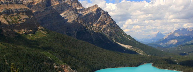 Classic view of a cloudfree Peyto Lake, Banff National Park, Alberta, Canada by Frank Kovalcheck