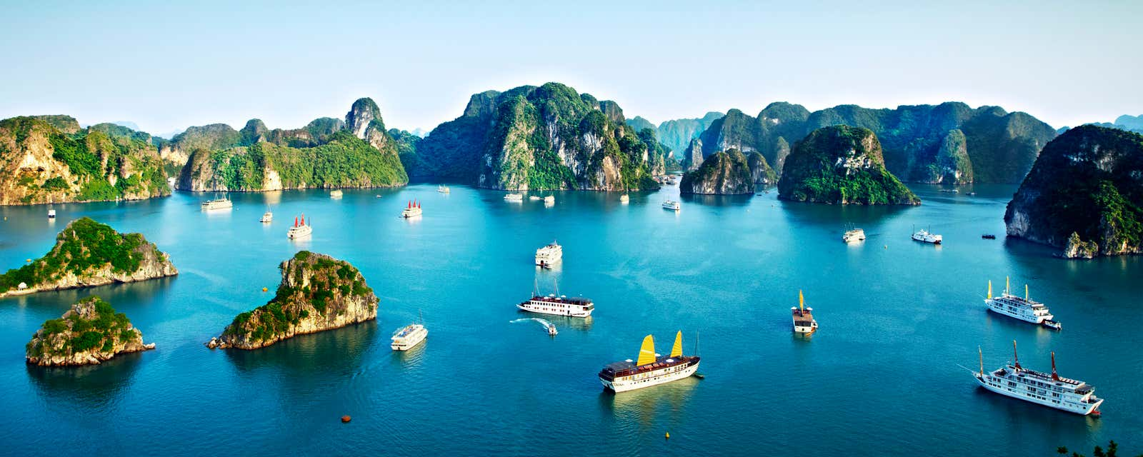 Chinese junks and cruise ships in Vietnam's Halong Bay.