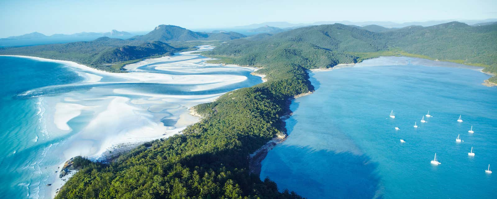An aerial view of Whitsunday Island, Australia.