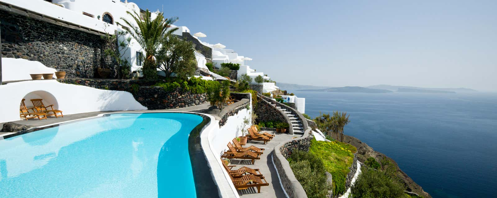 A pool with a view at Perivolas Hotel, Santorini, Greece.