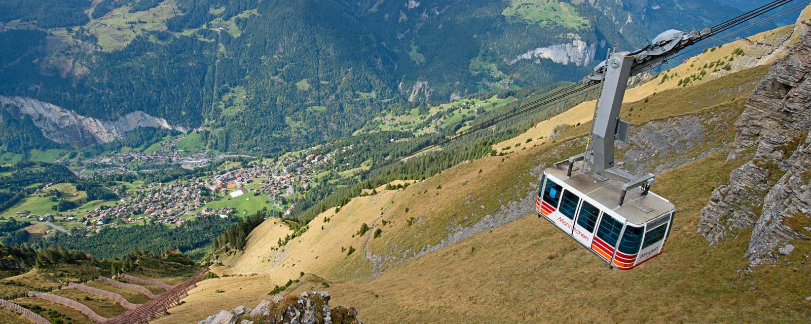 A cable car above Lauterbrunnen Valley, Switzerland.