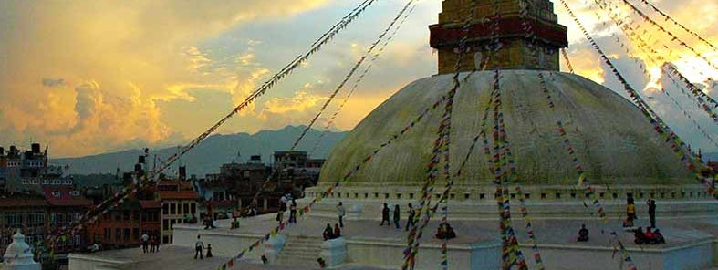 A holy place, Boudha Stupa at Sunset, from the east side, The Wish Fulfilling Stupa, Bodha, Kathmandu, Nepal by Wonderlane