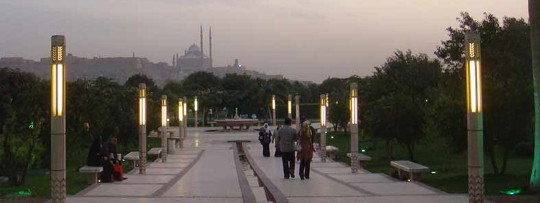 Al-Azhar park at dusk by Andrew Crump