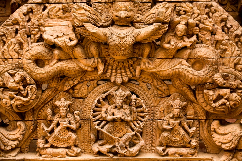 Doorway carving at Patan Museum, Durbar Square, Patan