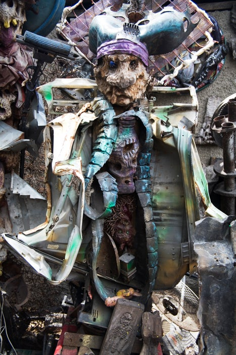 Junkyard sculpture on Grand Rue.