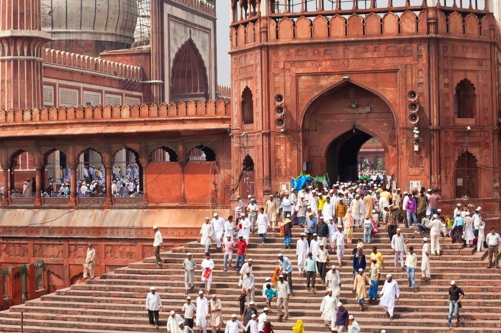 Worshippers leaving the Jama Masjid after Friday prayers, Old Delhi