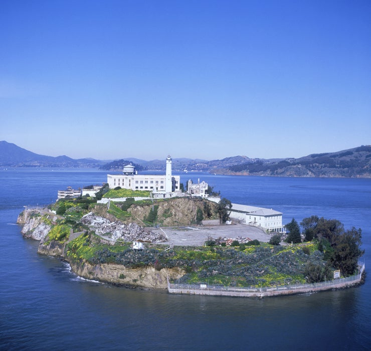 Alcatraz sits in the middle of San Francisco Bay.