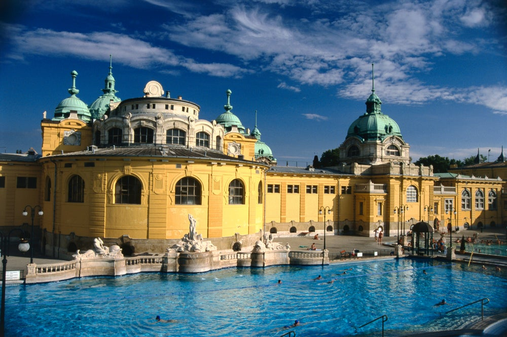 Open air pool at Széchenyi Baths.