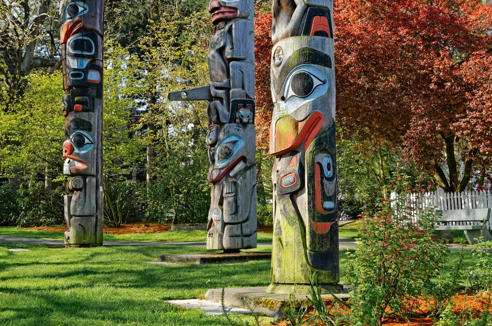 Totem poles at the Royal BC Museum.