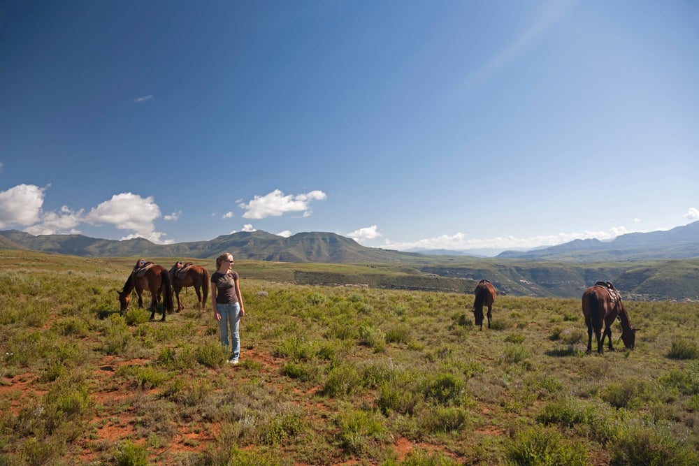 Horse trek through the highlands of Lesotho.