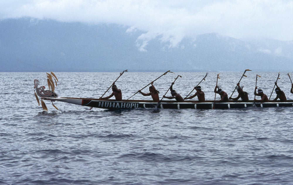War canoe racing at Milne Bay Canoe and Kundu Festival.