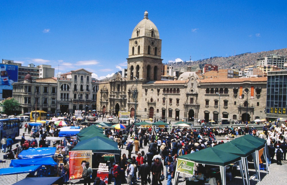 Market at Plaza San Francisco in La Paz.