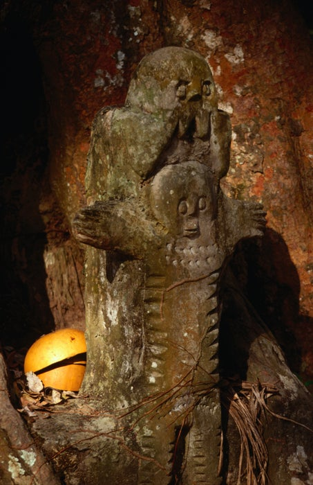 A sacred shrine to a Yoruba god in the Osun Sacred Forest.