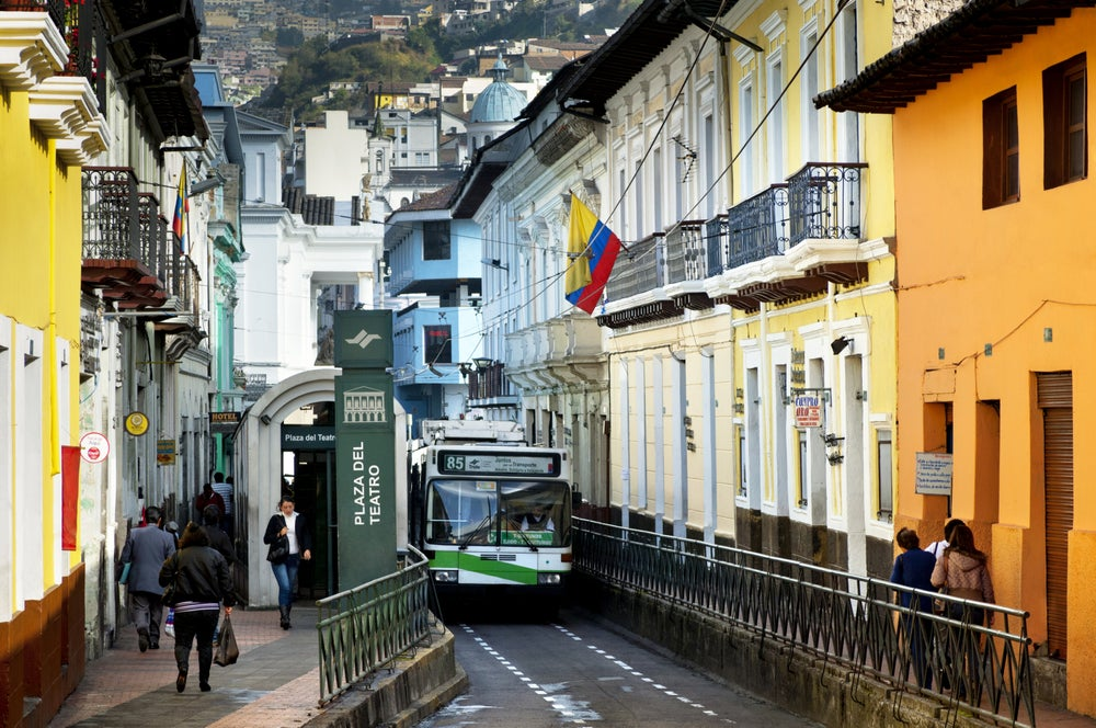 Street in Quito's old town.