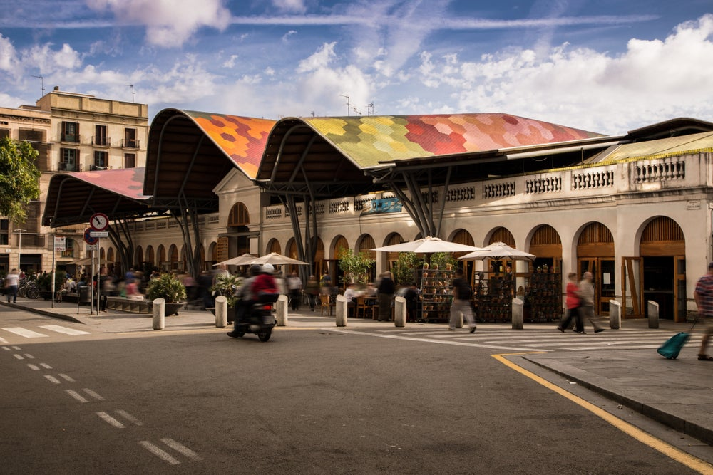 Mercat de Santa Caterina in the streets of Barcelona.