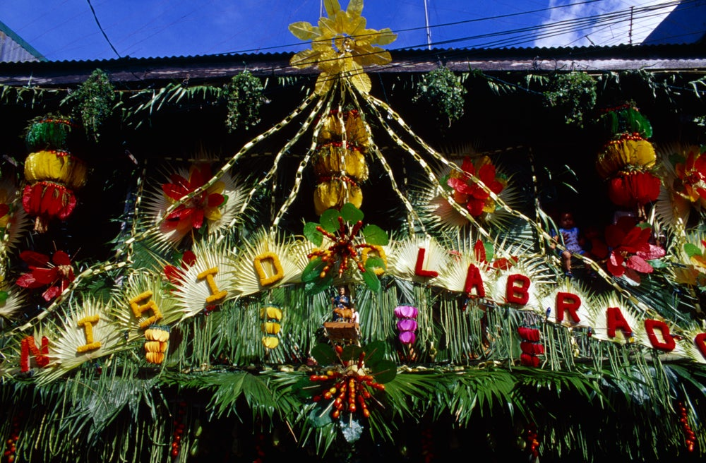 House adorned with coloured rice wafers to celebrate Pahiyas sa Lucban.