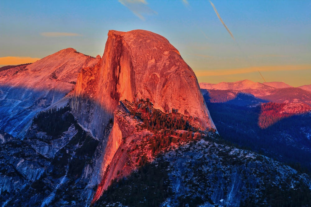 Sunset glow at Half Dome