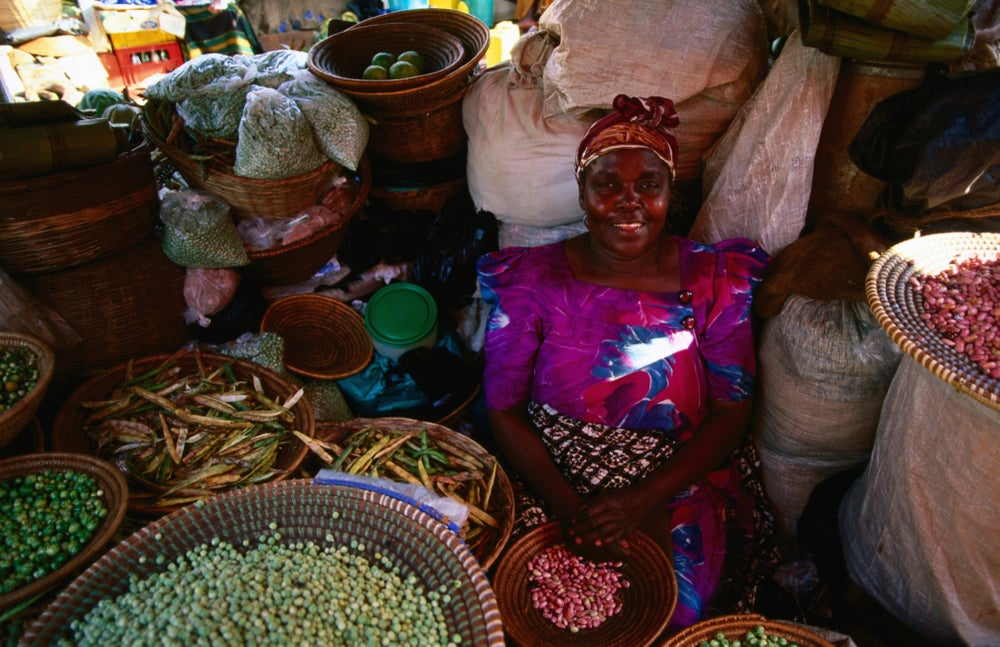 Bean vendor at Nakasero Market.