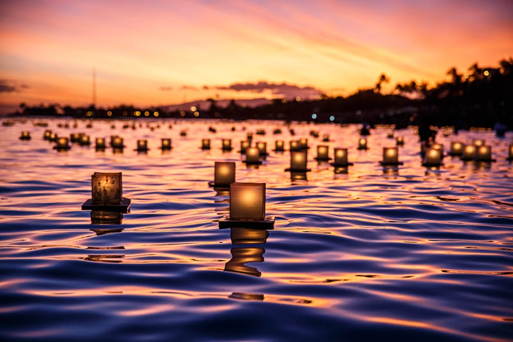 Japanese floating lantern at Ala Moana Beach Park.