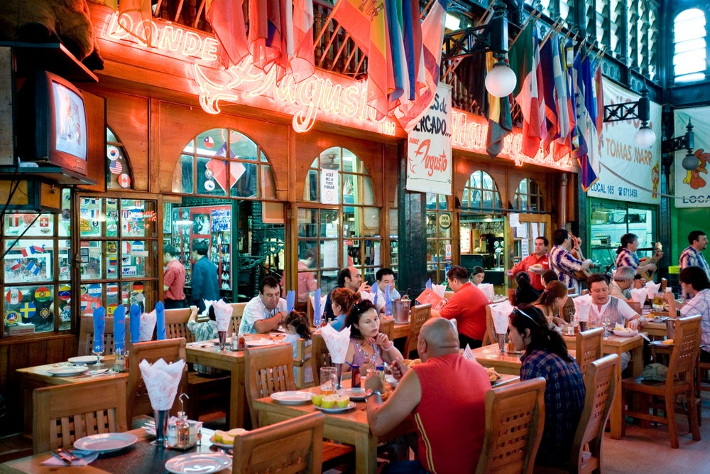 A restaurant at Mercado Central in Santiago.