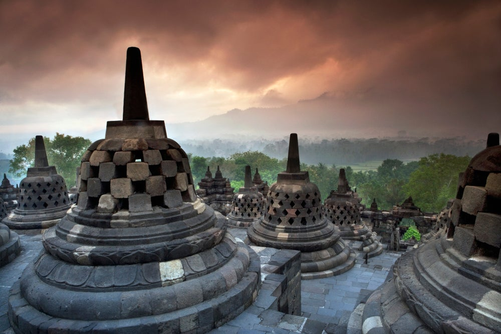 Borobudur Temple at dusk.