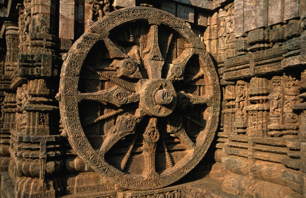 Carved wheel of the Sun Temple at Konark, Odisha