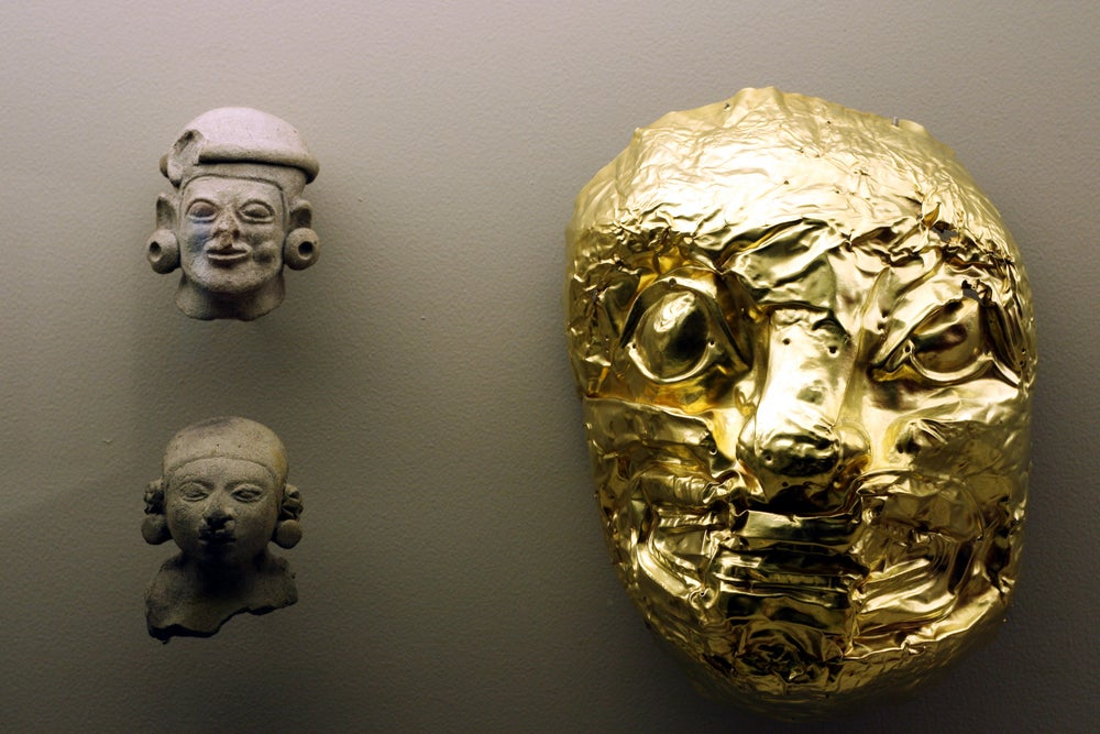 Artefacts on display at the Museo del Oro.