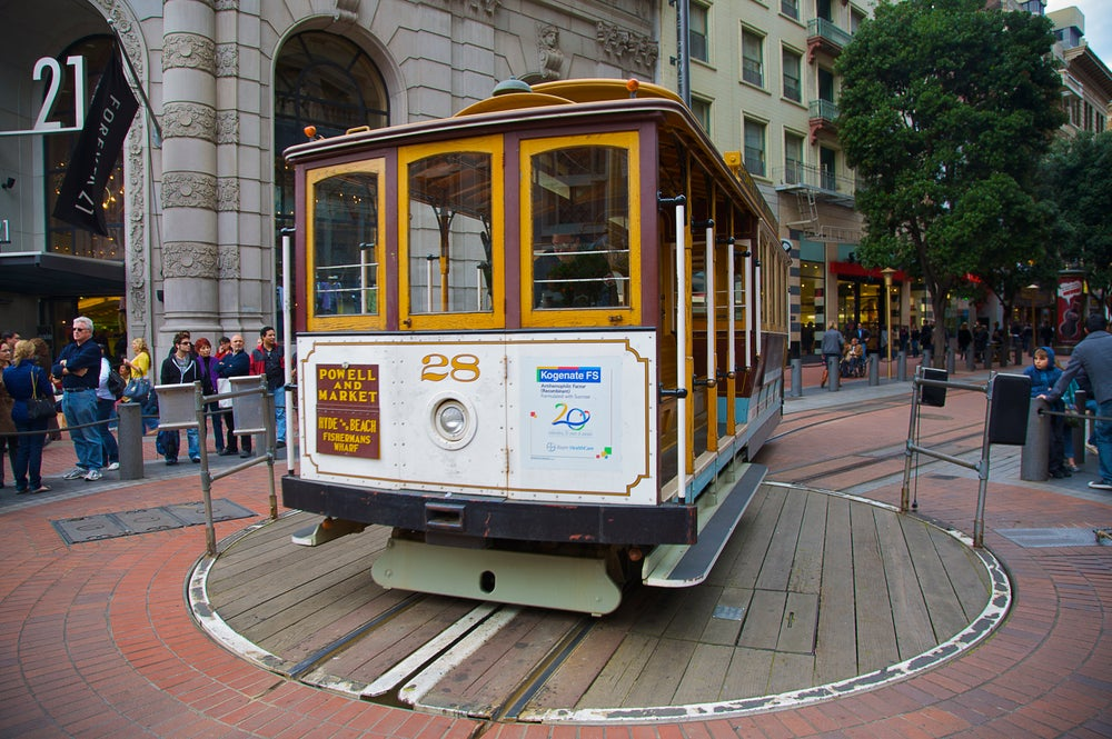Powell Street cable car turnaround.