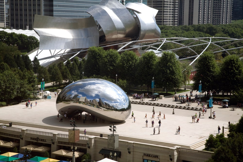Overlooking Millennium Park and the Cloud Gate sculpture.