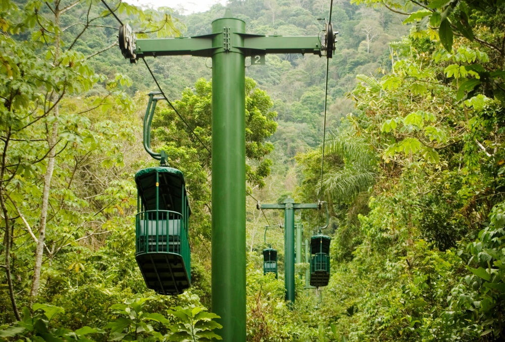 Canopy tram through the rainforest in Costa Rica.
