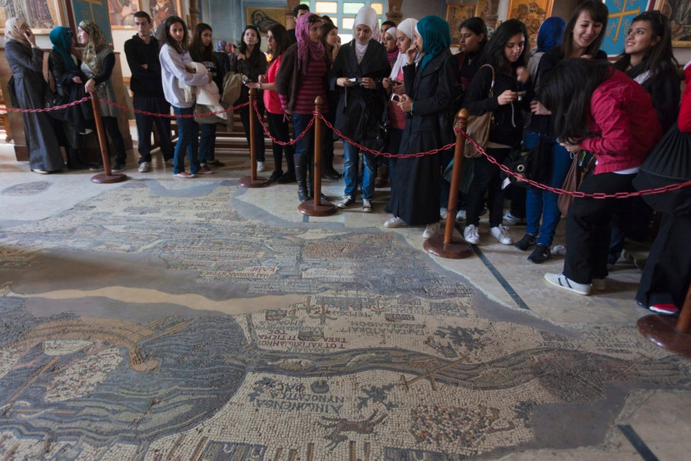 St George's Church and mosaic map.