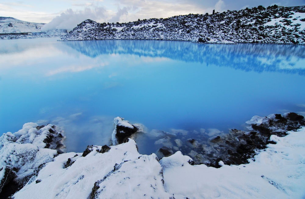 The Blue Lagoon surrounded by rocky lava fields,