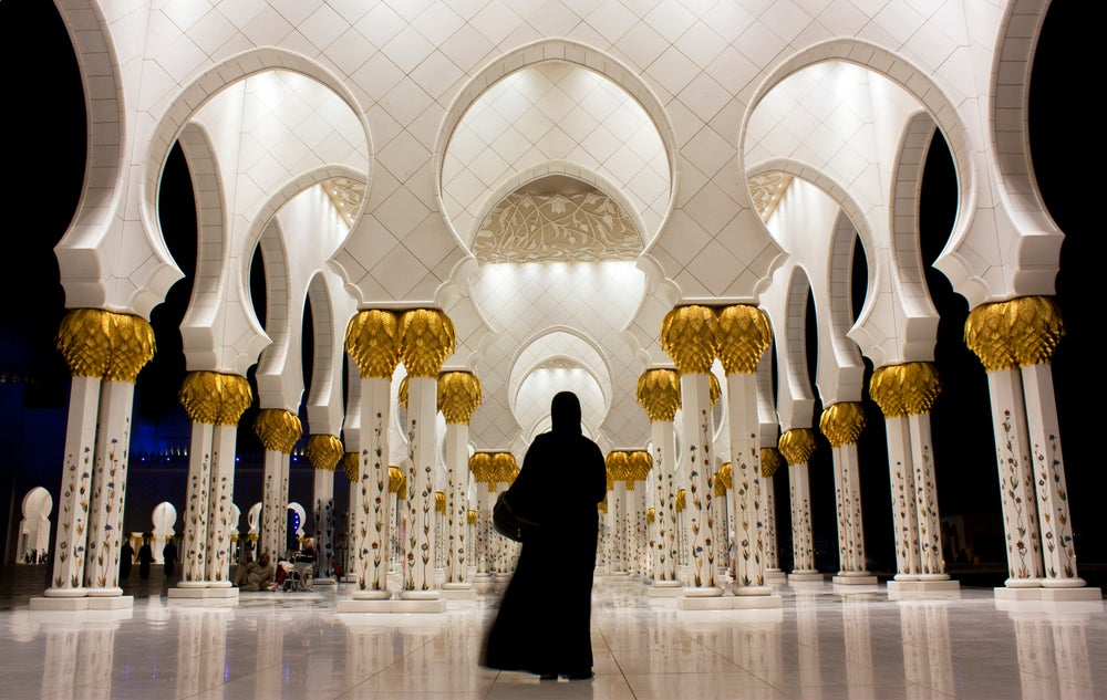 Interior of Sheikh Zayed Grand Mosque.