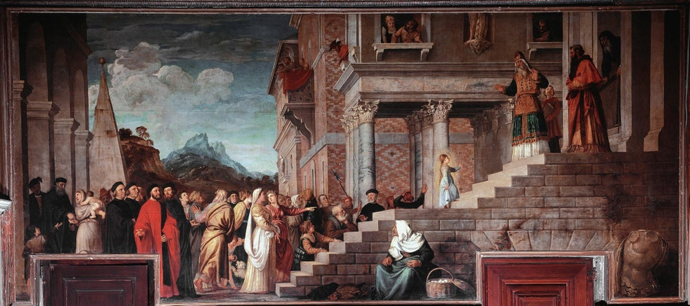 Presentation of the Virgin at the Temple by Titian in Venice's Gallerie dell'Accademia.