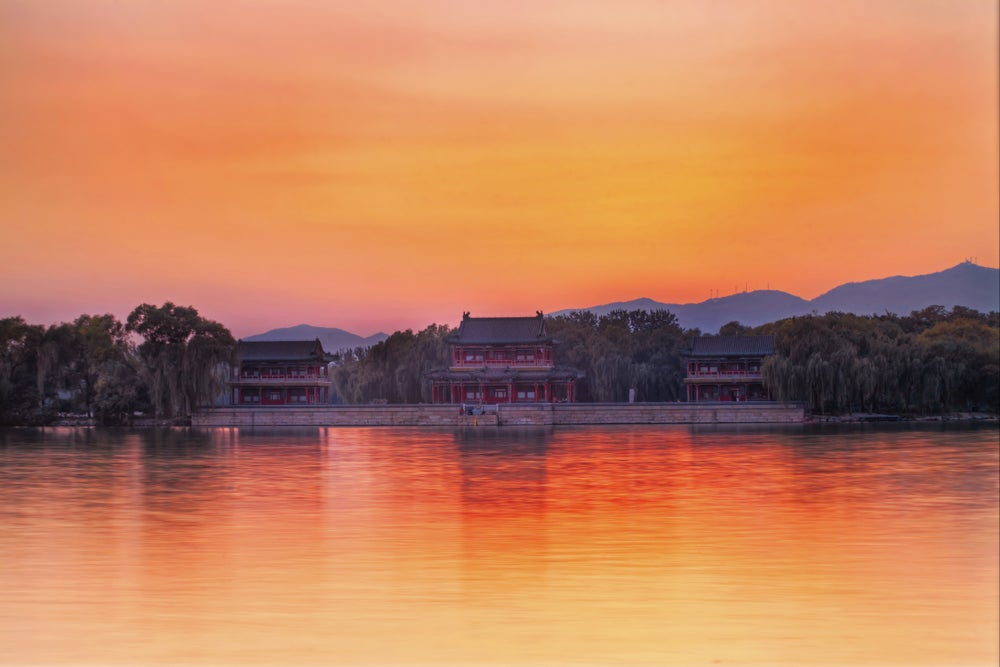 Sunset over the west bank of the Summer Palace.