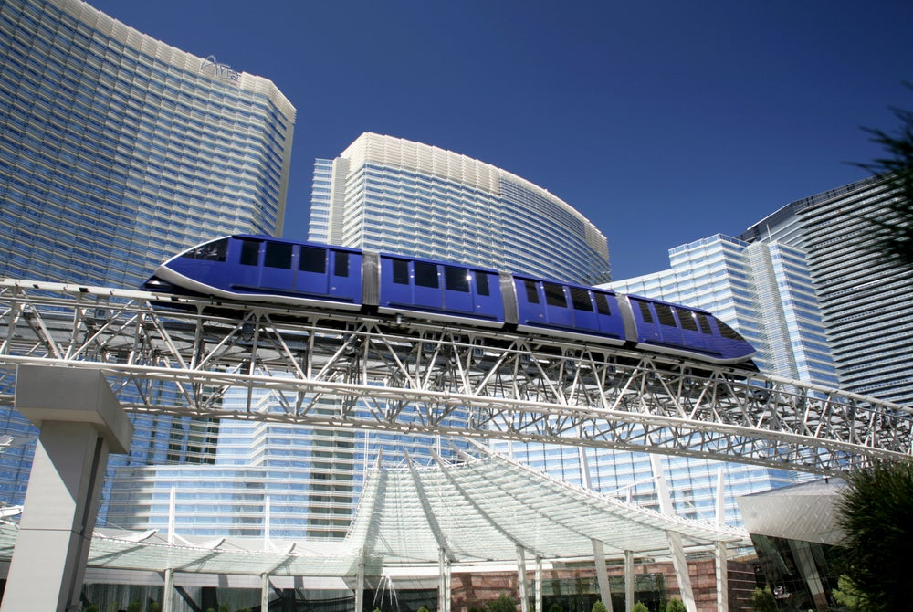 Monorail and CityCenter on the Las Vegas Strip.