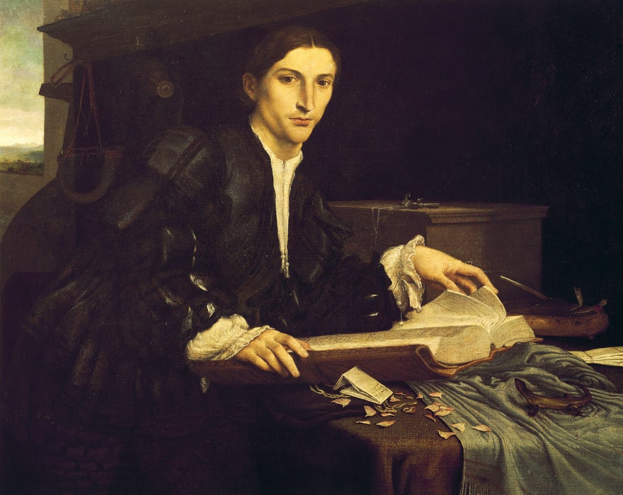 Portrait of a young gentleman in his studio by Lorenzo Lotto in Venice's Gallerie dell'Accademia.