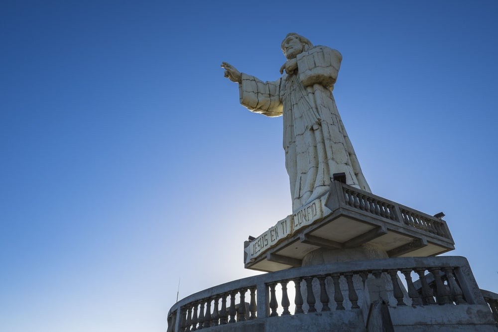 A 25m-tall statue of Jesus towers over the town of San Juan del Sur, Nicaragua