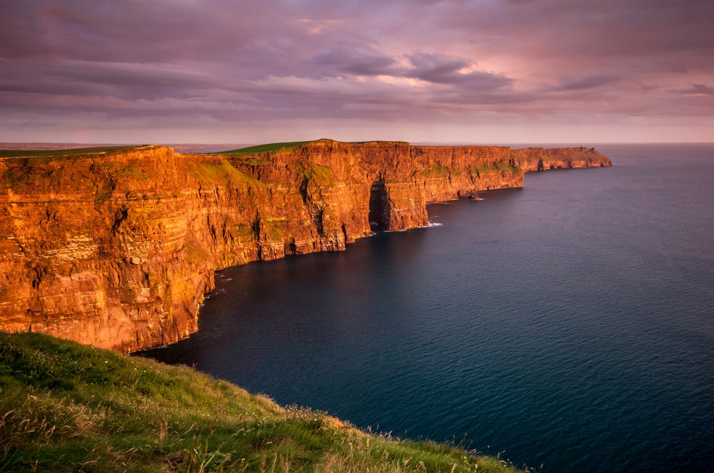 Cliffs of Moher at sunset.