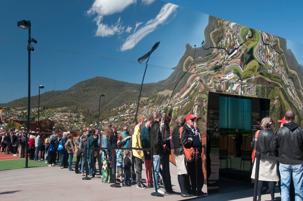 Visitors queuing to enter MONA
