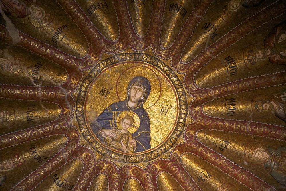 Mosaic of Virgin and Child in Chora Church.