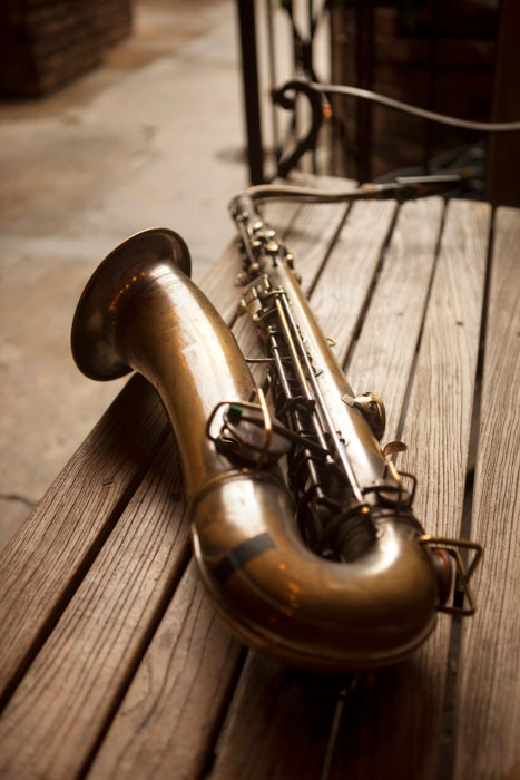 Daniel Farrow's saxophone at the Preservation Hall in the French Quarter.