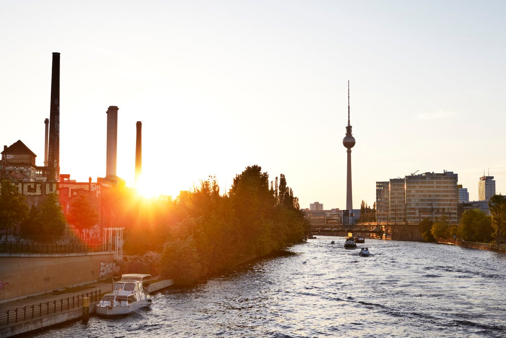View down Spree River at sunset.