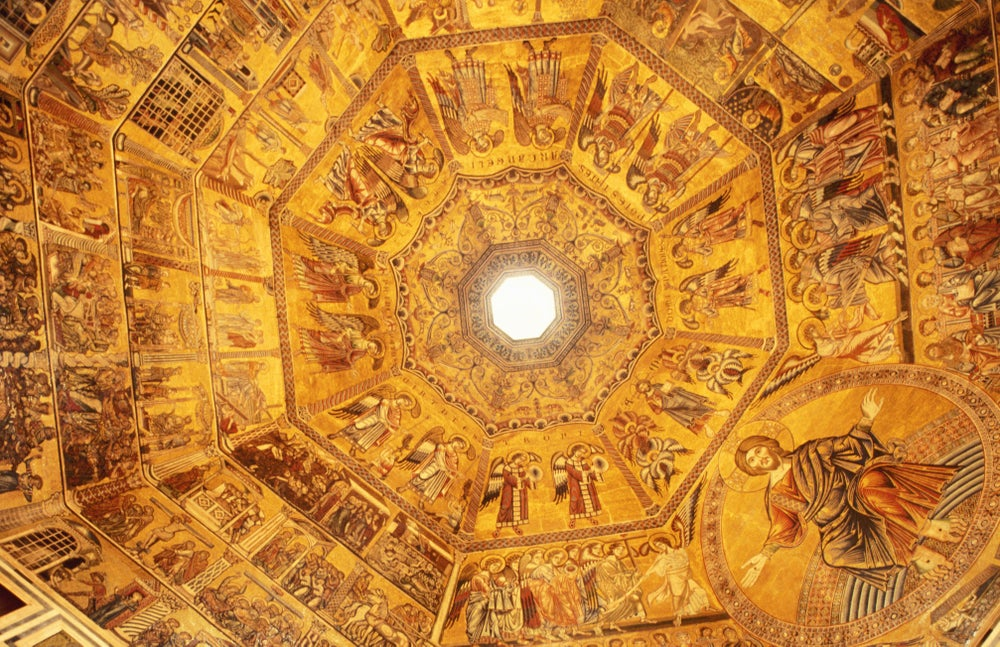 Detail of dome ceiling dedicated to St John the Baptist, Piazza Duomo.