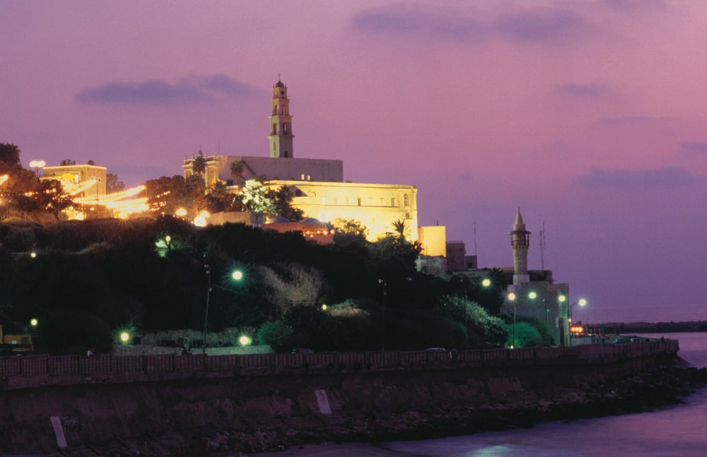 Sunset behind coastal town of Jaffa.