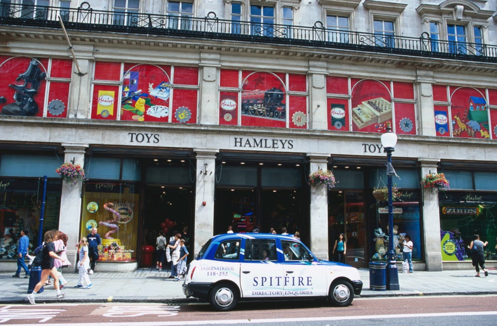 Car outside Hamleys Store in Regent Street.
