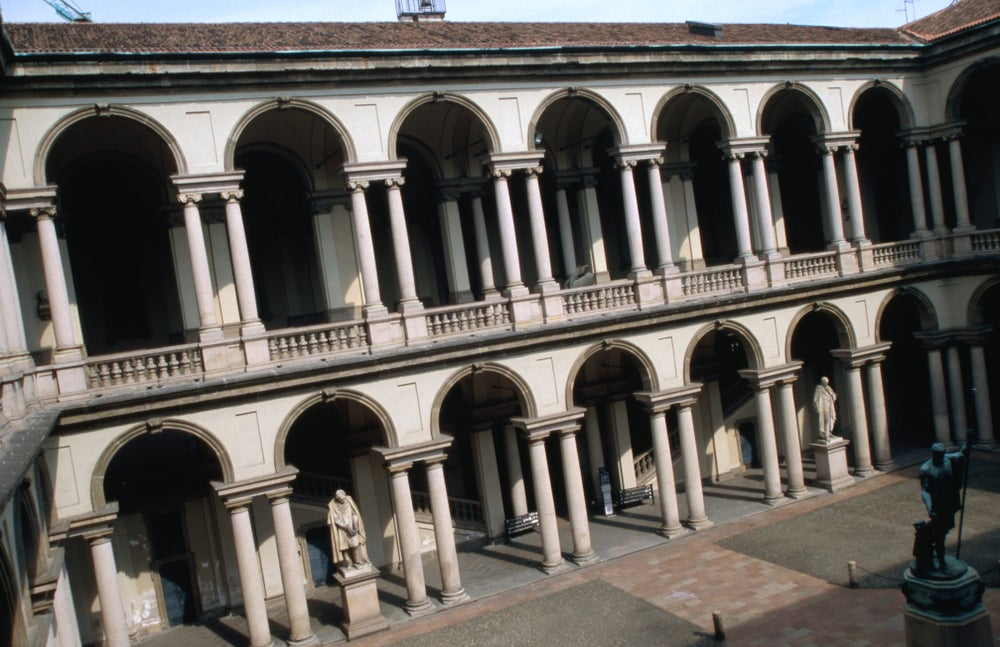 Courtyard of Pinacoteca di Brera.
