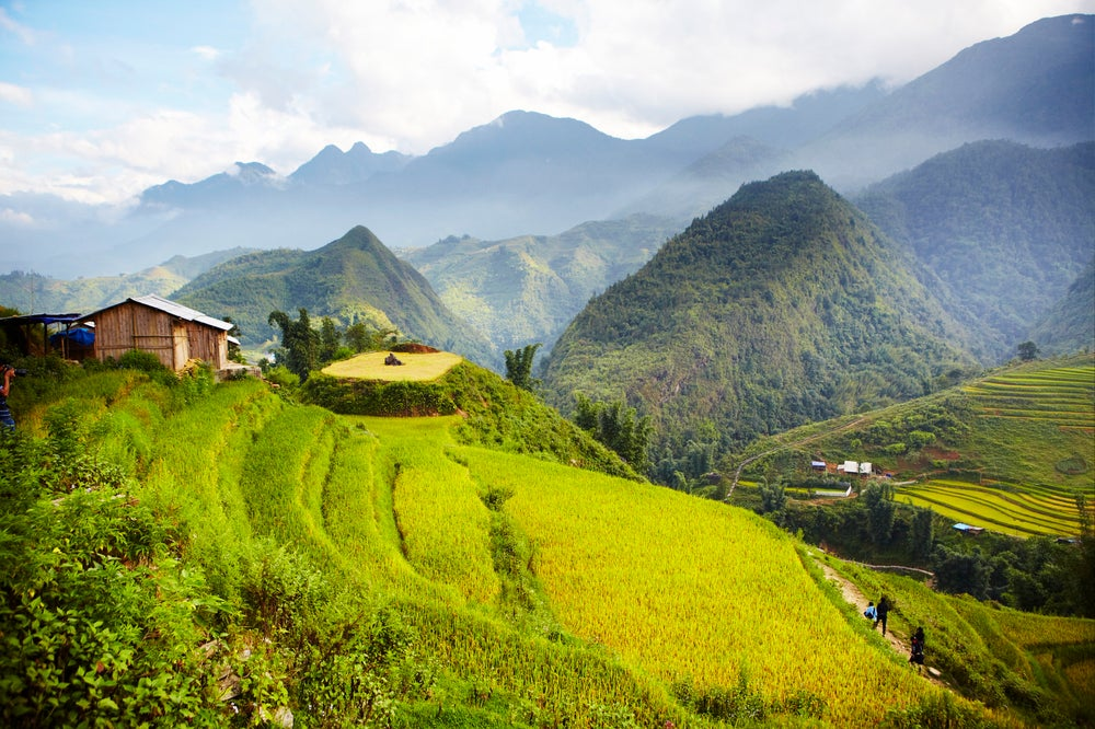 Overview of rice terraces and mountain terrain in Cat Cat village.