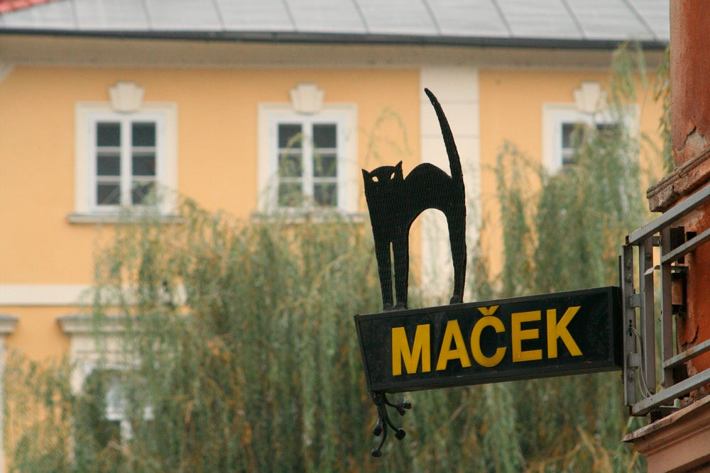 Cafe sign at Macek.